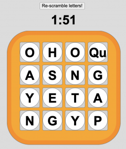 "Screenshot of a webpage with a button saying ""Re-scramble letters!"", a timer, and an orange ""Boggle board"" with 16 letter tiles in a four-by-four grid."