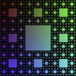 A black Menger sponge on a rainbow background: if you take a 3x3 grid of squares, remove the center square; then divide each remaining square into a 3x3 grid and repeat.